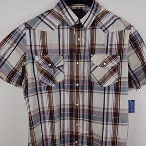 NWT American Rag Men's Plaid Pearl Snap - Large